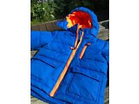 Kids Children's Winter Coat Jacket, blue orange, as good as new, Size 92, H&M