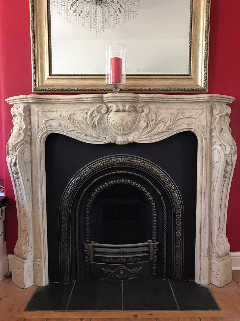 french chateau shabby chic fireplace fire surround and fire insert