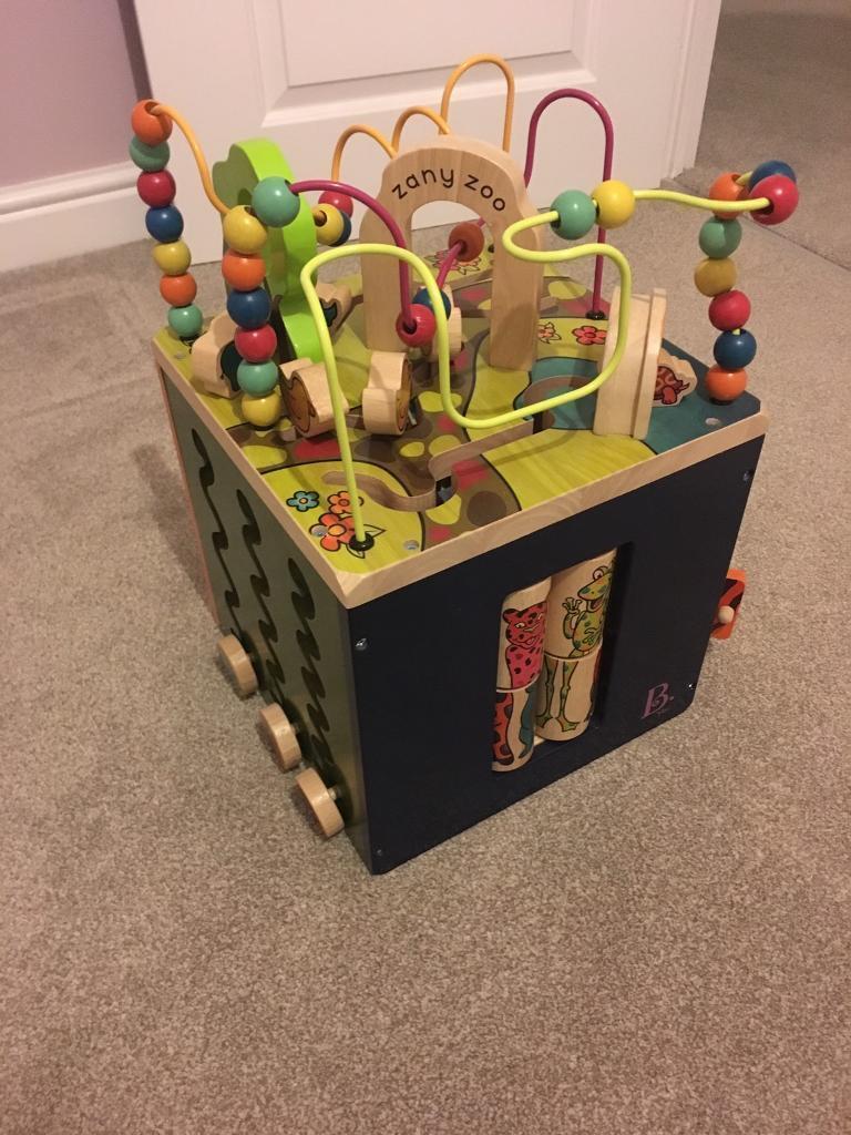 B zany zoo wooden activity cube
