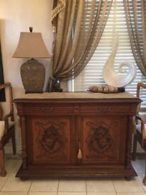Antique Carved Side Cabinet Very Old Looks Stunning Anywhere detailed Carving & Twisted Pilars