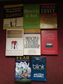 Collection of leadership and self-development books