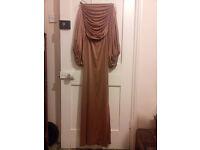 vintage / retro amazing maxi-style dress, creamy brown colour with fabulous detail