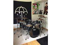 7 Piece Matte Black Drum Kit with Sabian Cymbals and Pearl Hardware Plus Extras