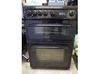 Hotpoint HAG60 Double Oven Gas Cooker Black Works Perfectly Excellent Condition