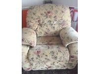 Floral G Plan Floral Sofa with Arm Chair And Poufee