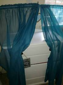Teal voile curtains 66/72 inch drop