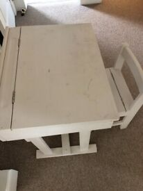 Childs antique desk and chair