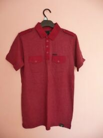 Mens Firetrap Claret Red Short Sleeved Polo Shirt Casual Top with Epaulets Size Small