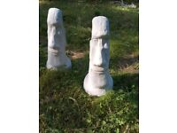 Large Easter Island Heads Concrete Garden Statue