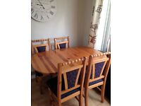 Antique Pine Dining Table and 4 Chairs