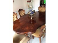 Italian inlaid dining table & 6 chairs - gorgeous set