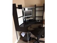 Corner study table workstation with magnetic writing board and separate draws black/white