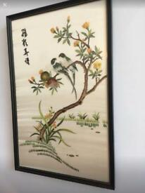 Vintage Chinese Silk Embroidery Picture