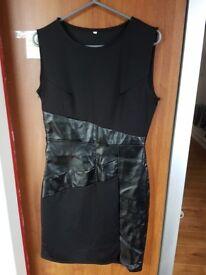 Brand New Women's Black Wet Look Bodycon Midi Dress Size XL 12/14