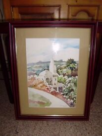 Original water colour painting, very beautiful, glass fronted