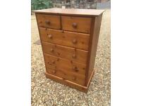 Large solid pine chest of drawers.