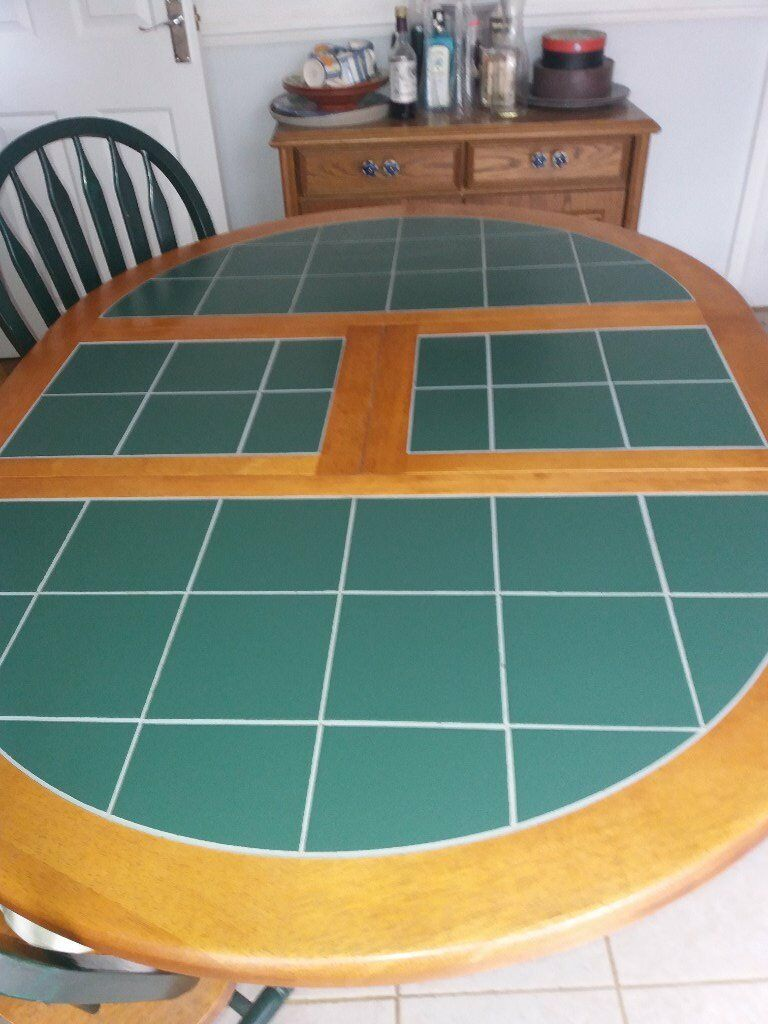 EXTENDABLE WOODEN TABLE WITH GREEN TILE TOP & 4 CHAIRS