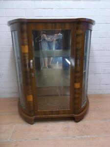 GORGEOUS ANTIQUE ART DECO LEADLIGHT ETCHED FRONT GLASS DISPLAY CABINET CUPBOARD