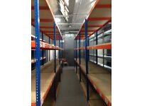 JOB LOT 10 bays of Rapid 1 industrial longspan shelving 7ft high ( pallet racking , storage )
