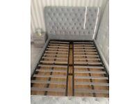 Grey kingsize bedframe with ottoman storage