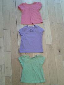 3 x Mothercare girls short sleeve tops