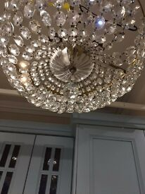 Polished Glass Chandelier with Brass supports, 3 light bulb attachments