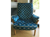 Ercol Saville vintage retro Armchair, reupholstered in Teal velvet