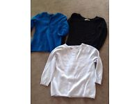 CASHMERE SWEATER BUNDLE X 3 SIZE S BLACK/LIGHT BLUE & ROYAL BLUE GORGEOUS!
