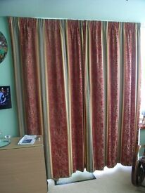 Damask thermal lined curtains; red & gold with blue stripe