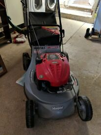 MASPORT Quick start petrol lawnmower. 2 years old, like new. Low cutting bed huge grass box .
