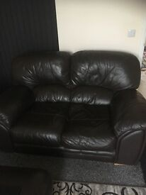 3+2 leather sofas with foot rest stool