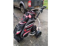 Electric golf trolley, bag and clubs