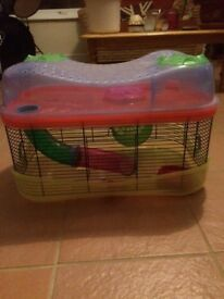 Large two tier Hamster cage complete with water bottle food bowl and exercise ball