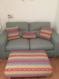 2 seater dfs sofa, footstool, cushions and rug
