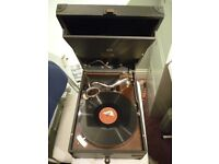 original (hmv)his masters voice 78 speed gramophone , lovely retro tone , with five english records
