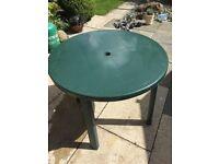 Round Green Plastic Garden Table