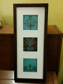 Framed embroidery wall decoration
