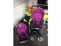 Oyster max double tandem pushchair in grape with buggy board