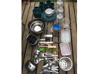 Kitchen Stuff Bundle. Pots, pans, bowls, utensils all sorts