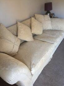 Large cream shabby chic sofa