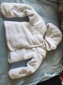 Baby R white fluffy coat