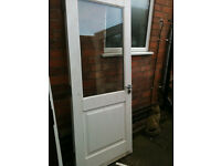 Exterior hardwood door with double glazed clear glass panel