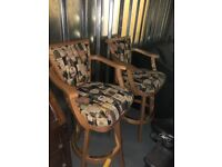 3 Wooden High Chairs and High Top Table, Bar Table