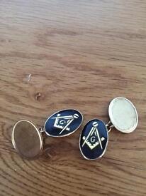9ct gold Masonic cuff links , full hallmarks, weighs 6.72 grams