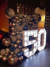 Sweet / candy tables, balloons garlands, Hire charger plates, plinths, pedestals, seamless backdrop