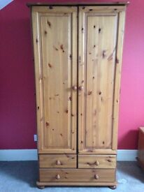 GOOD CONDITION DOUBLE PINE WARDROBE WITH DRAWERS UNDER IDEAL FOR PAINTING SHABBY CHIC