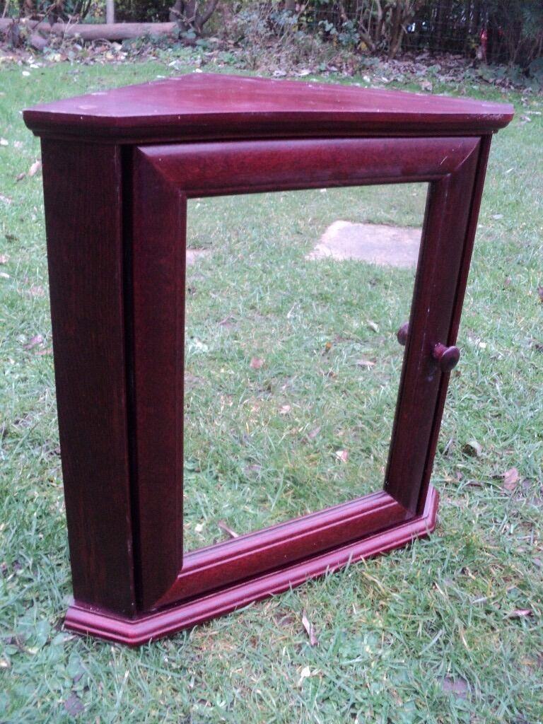 Mahogany Effect Bathroom Corner Cabinet / Mirrored Door | in ...