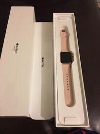 Apple Watch series 3 38mm case gold aluminium sport band pink sand
