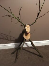 Hand made wooden reindeer