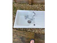 Free White resin sink plus vintage taps